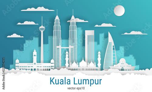 Paper cut style Kuala Lumpur city, white color paper, vector stock illustration Wallpaper Mural