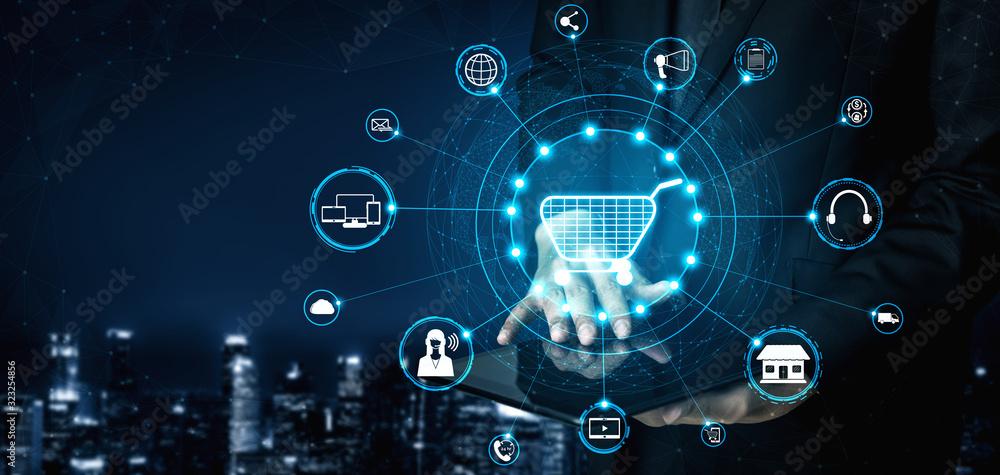 Fototapeta Omni channel technology of online retail business. Multichannel marketing on social media network platform offer service of internet payment channel, online retail shopping and omni digital app.