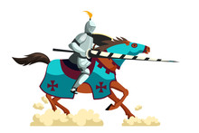 Armed Knight Galloping On Hors...