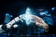 canvas print picture - 3D Rendering futuristic robot technology development, artificial intelligence AI, and machine learning concept. Global robotic bionic science research for future of human life.
