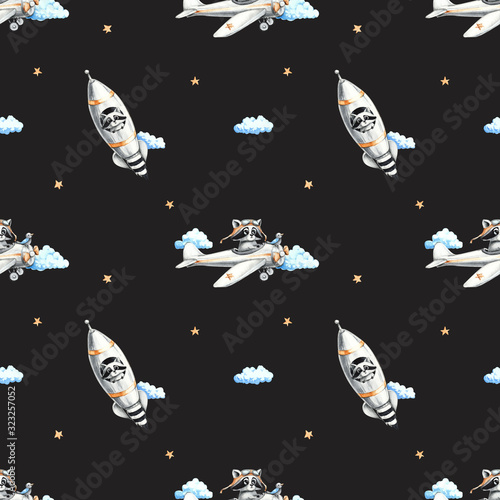 Watercolor pattern with raccoons and transport for baby Wallpaper Mural