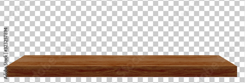 Fototapeta Perspective view of wood or wooden table top isolated on checkered background in