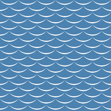Sea Waves Blue And White Seaml...
