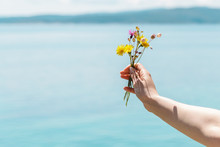 Enjoying The Outdoors. Close Up Of Woman Hand Holding A Bouquet Of Beautiful Yellow Flowers On Ocean Background