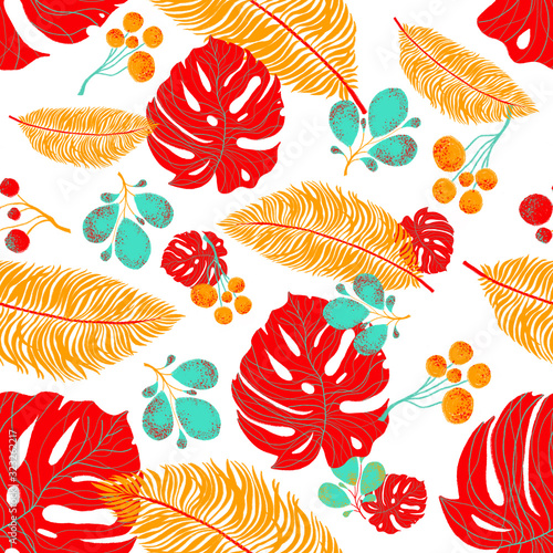 Fototapety, obrazy: Tropical floral seamless pattern with trends fashion colors. Pantone color of the year 2020. Tropical leaves on white background