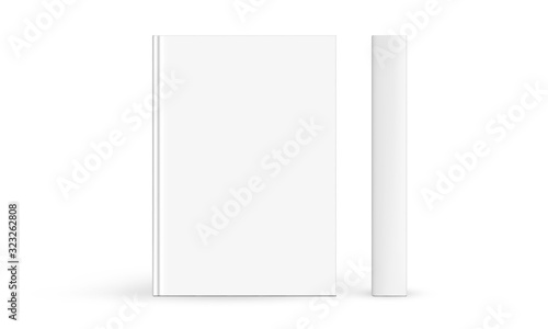 Fotografering Hardcover book mockup front cover and spine isolated on white background