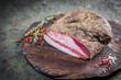 canvas print picture - Guanciale dried speck а ham, Italian cured meat product