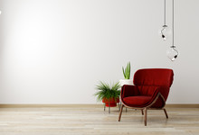 Living Room Interior With Red Armchair And Flower, White Wall Mock Up Background, 3D Rendering