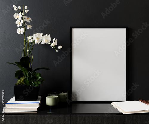 Obraz Mockup poster frame in modern black interior background, Scandinavian style, 3D render, 3D illustration - fototapety do salonu