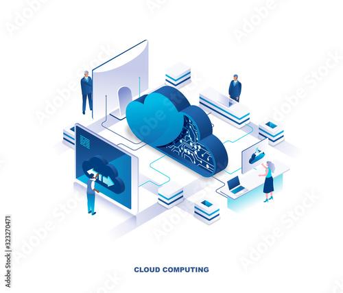 Fototapeta Cloud computing service isometric landing page. Concept of innovative technology for file storage, data center, database, storing digital information on internet. Vector illustration for website. obraz
