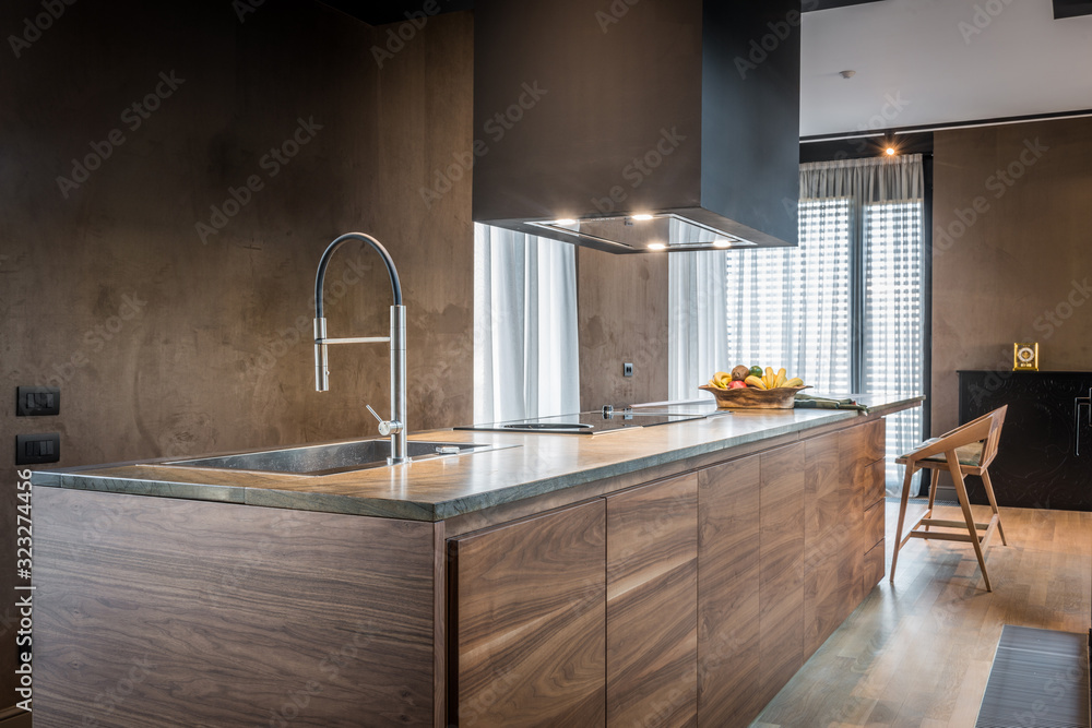 Fototapeta Kitchen interior in modern luxury penthouse apartment