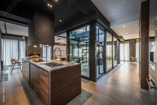 Kitchen interior in modern luxury penthouse apartment