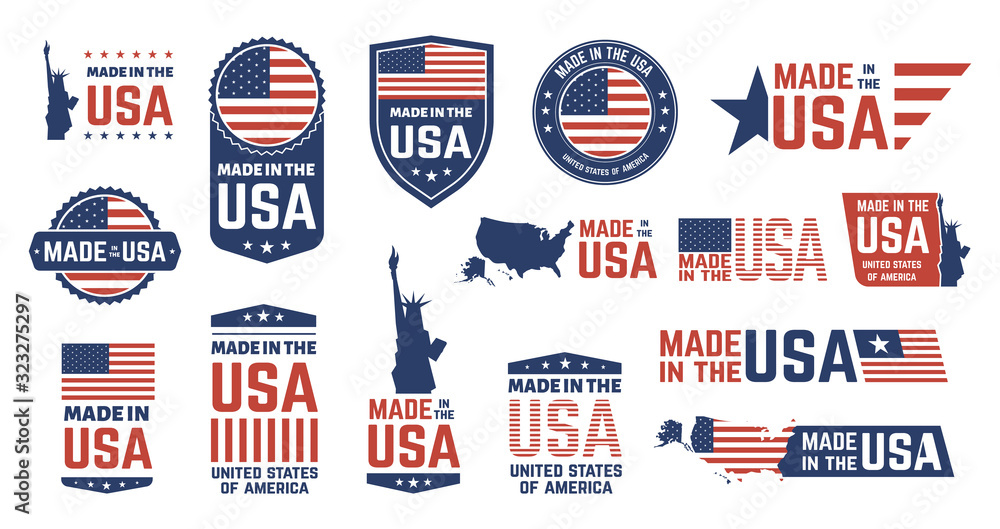 Fototapeta Made in USA badges. Patriot proud label stamp, American flag and national symbols, United States of America patriotic emblems vector set. US product stickers, national independence day 4th july badges