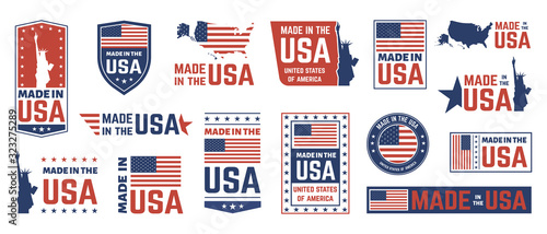 Obraz Made in USA label. American flag emblem, patriot proud nation labels icon and united states label stamps vector isolated symbols set. US product stickers, national independence day 4th july badges - fototapety do salonu
