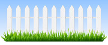 Realistic Wooden Fence. Green Grass On White Wooden Picket Fence, Sunshine Garden Background, Fresh Plants Border Hedge Vector Illustration. Rural Spring Landscape Horizontal Background With Fencing