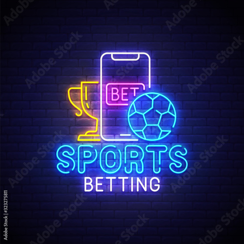 Foto Sports betting neon sign, bright signboard, light banner