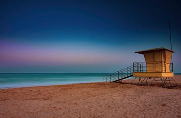 beach hut at sunrise, corralejo, fuerteventura, canary islands.