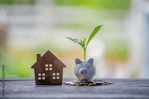 Fototapeta Saving money for buy a new house for plan business investment of real estate concept. obraz