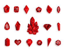 Set Of Red Gemstones. Vector I...