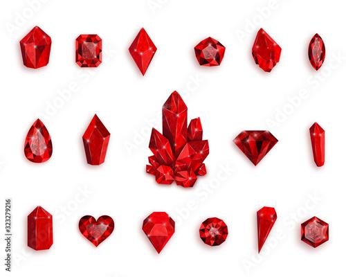 Fotografía Set of red gemstones. Vector illustration of rubies.