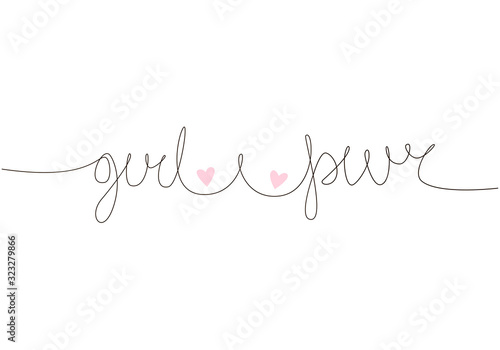 Girl Power handwritten inscription. Hand drawn lettering. One line calligraphic feminine breast and quote. Vector illustration