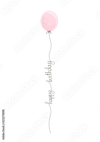 Happy Birthday handwritten inscription with pink balloon. Hand drawn party lettering. One line calligraphic text. Vector illustration