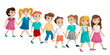 The group of children holding hands and cross the road. Vector isolated cartoon illustration on white background