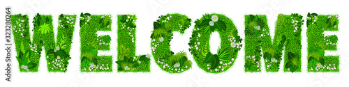 Fotografía Mot «WELCOME» composé de lettres florales - illustration vectorielle d'un gazon fleuri