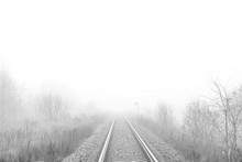Railway Track Disappear In Fog