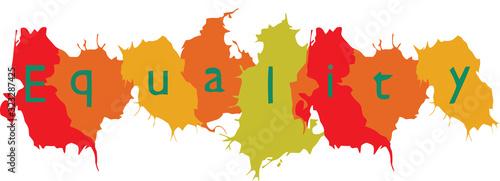 Fototapeta scritta uguaglianza su cartello forma macchie colorate obraz