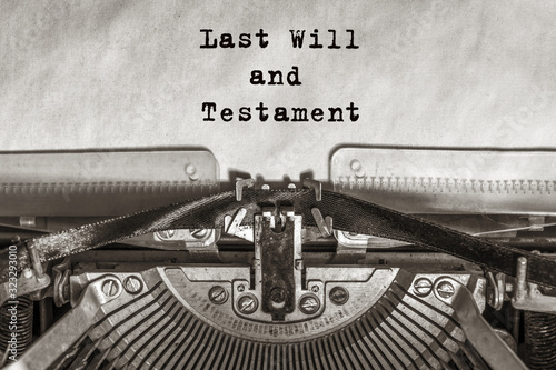 Last Will and Testament, typed on an old typewriter Canvas Print