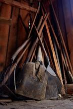Farmer Tool In A Wooden Barn
