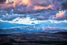 Snow On Hermon Mountain Sunset  Landscape View