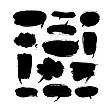 Black Paint Speech Bubbles Vector Illustrations Set. Hand Drawn Empty Thought And Text Clouds Isolated On White Background.