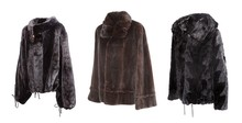 Ornate Female Fur Coat Made From Mink Fur Isolated On White Background