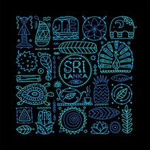 Sri Lanka Travel, Art Background. Tribal Elements For Your Design