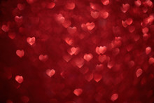 Red Hearts Bokeh As Background. Love, Wedding Or Valentine's Day Background
