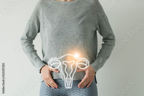 Woman in casual grey clothes suffering from indigestion pain, highlighted vector Tapéta, Fotótapéta