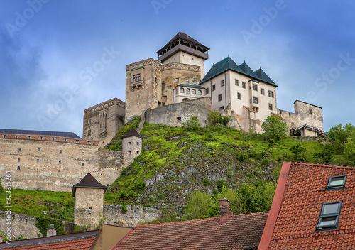 Fototapeta The Trencin Castle build in 13th century (in Slovak: Trenčiansky hrad, Hungarian: trencséni vár), castle above the town of Trenčín in western Slovakia