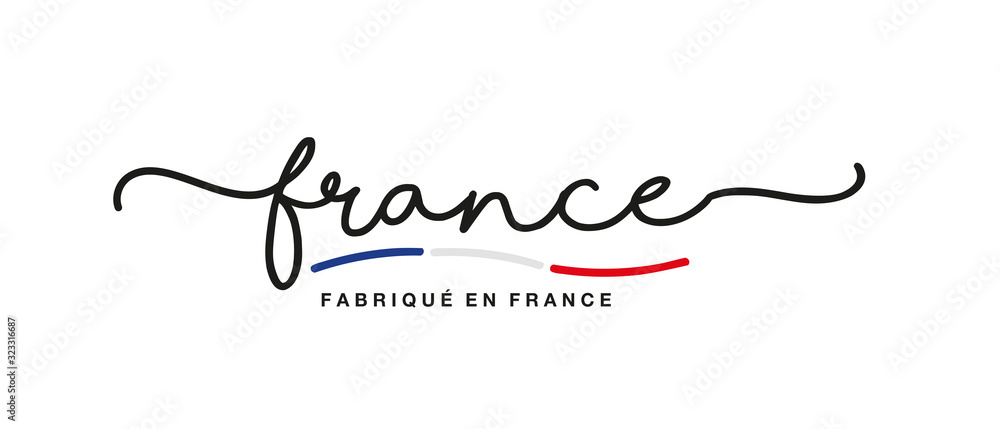 Fototapeta Made in France logo French language handwritten calligraphic lettering sticker flag ribbon banner