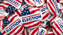 3D Illustration Of 2020 US Presidential Election Buttons.