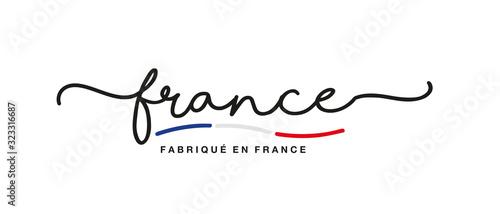 Fototapeta Made in France logo French language handwritten calligraphic lettering sticker flag ribbon banner obraz