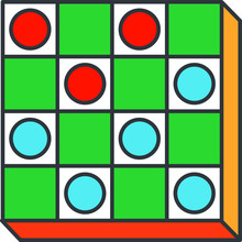 Checkers Game Icon, Vector Ill...