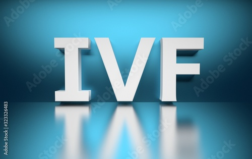 Word In vitro fertilisation abbreviation IVF letters on blue background over shiny surface Wallpaper Mural