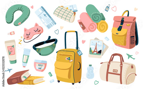 Set of travel stuff for vacation and holiday Canvas Print