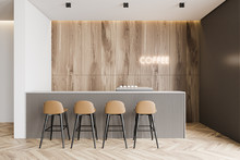 Wooden And Gray Coffee Shop In...