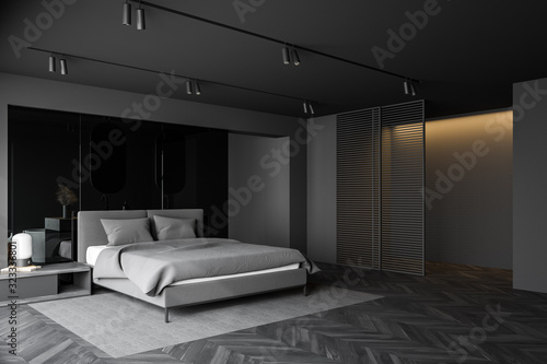 Luxury grey bedroom and bathroom interior Canvas Print