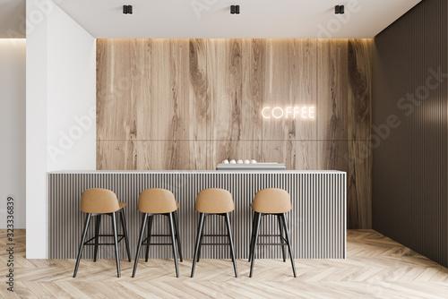 Wooden and gray coffee shop interior Slika na platnu