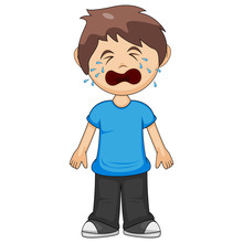 A Boy Is Crying Cartoon Vector Illustration