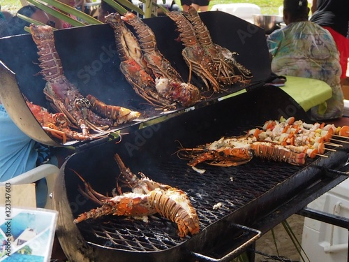 BBQ lobster at Placencia lobster festival Belize Wallpaper Mural